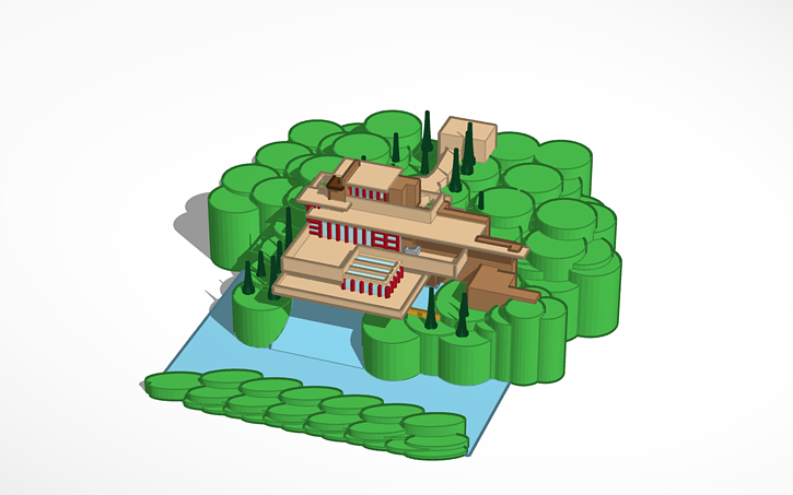 3d design fallingwater house tinkercad Tinkercad 3d