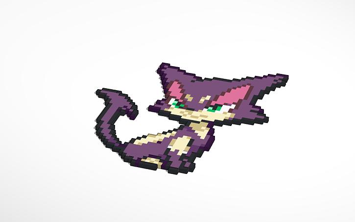 3d Design Purrloin Pixel Pokemon Tinkercad