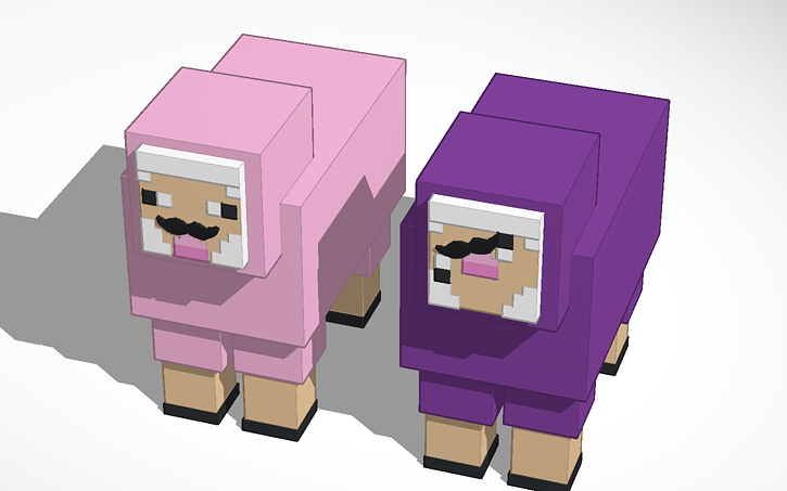 3d design pink sheep in minecraft tinkercad