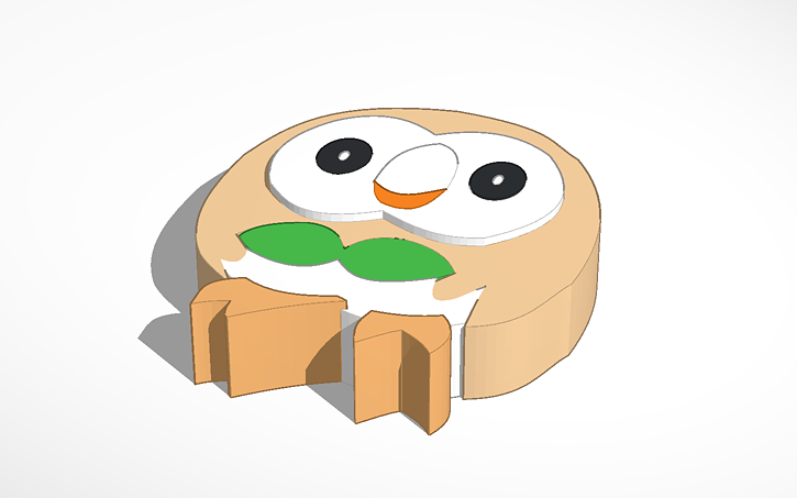 3d Design Rowlet Pokemon Sun And Moon Tinkercad
