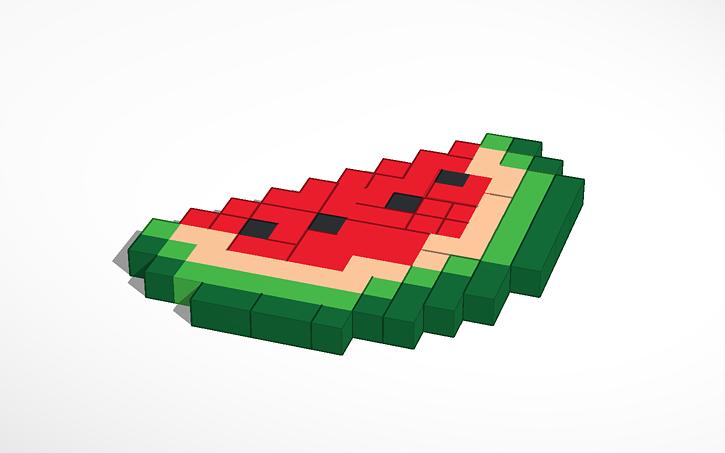 3d Design Amazing Pixel Art Melon Tinkercad