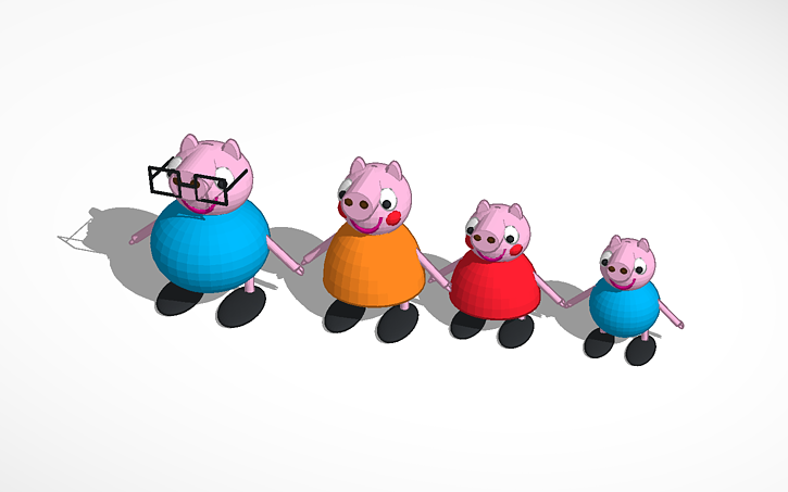 3d Design Peppa Pig Family Tinkercad