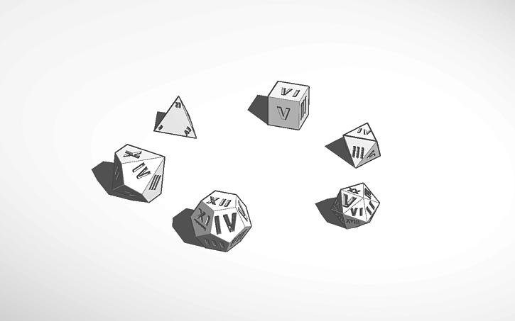 3d Design Roman Numeral Dice Set Tinkercad
