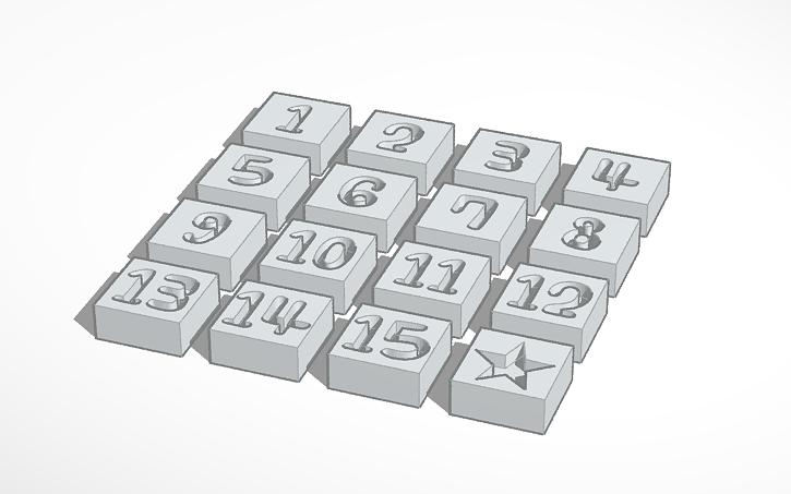 3D design Sliding Puzzle Pieces (1-15)   Tinkercad