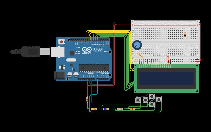 Circuit design Arduino + LCD 16x2 +Keypad Shield   Tinkercad