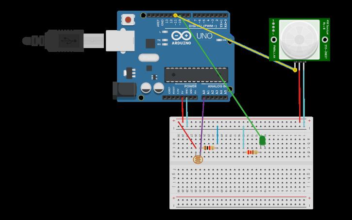 Circuit design Motion Sensing Light | Tinkercad