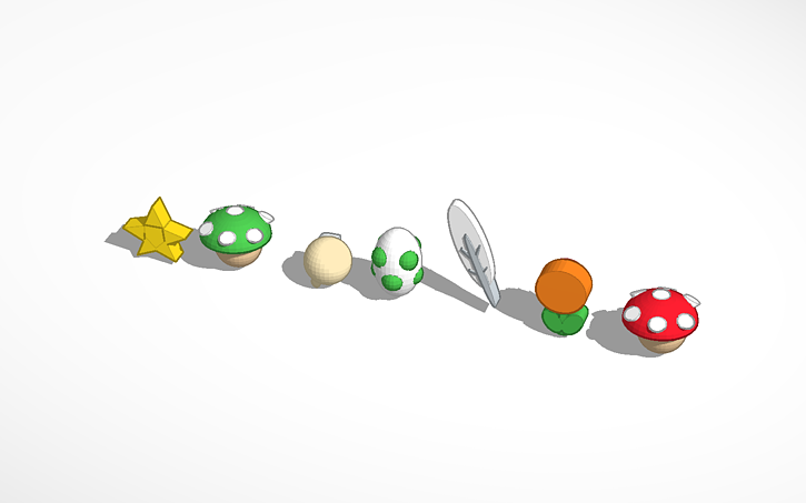 3D design All Power-Ups in Super Mario World | Tinkercad