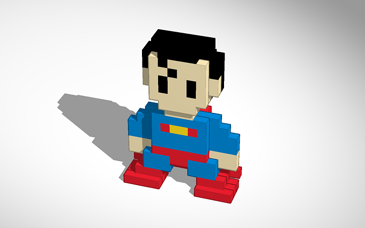 3d Design Superman Pixel Art Brandonrowland22 Tinkercad