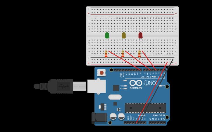 Circuit design Semáforo programado con Arduino | Tinkercad