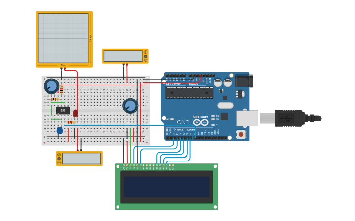 Circuit design Arduino Frequency Counter | Tinkercad
