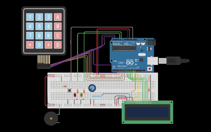 Circuit design Copy of cerradura Arduino,Lcd y Keypad