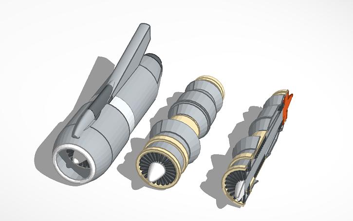 3D design Pratt & Whitney JT3D Turbofan Engine | Tinkercad