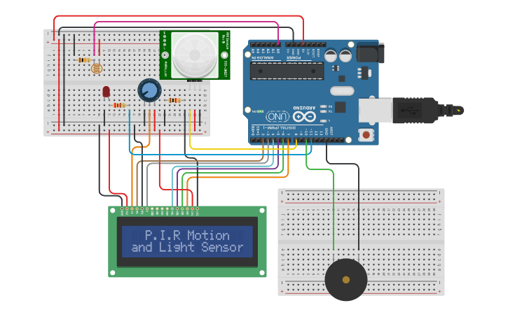 Circuit design Arduino with PIR and light sensor, LCD