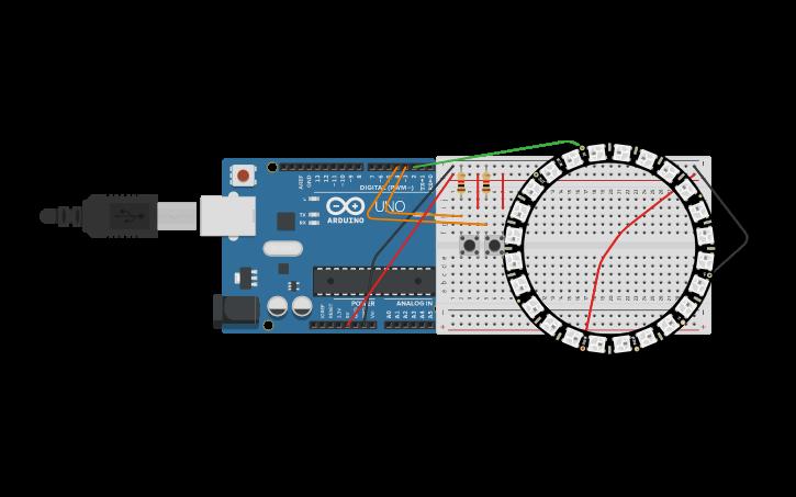 Circuit design NeoPixel Ring 水流模擬| Tinkercad