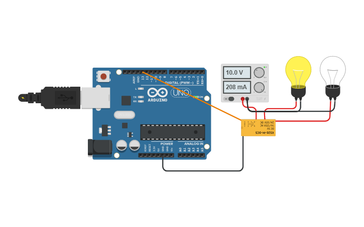 Circuit design Relay DPDT Control | Tinkercad