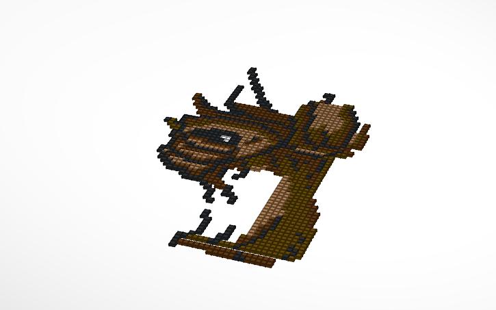 3d Design Groot Pixel Art Tinkercad
