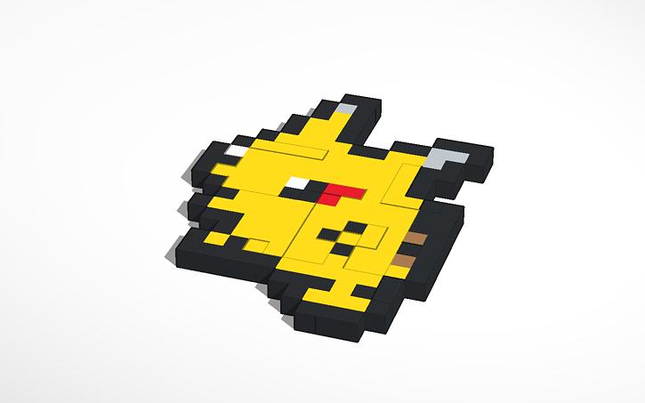 3d Design Pikachu Pixel Art 025 Tinkercad