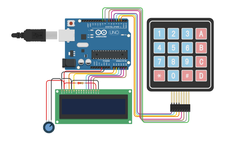 Circuit design LCD and Keypad   Tinkercad