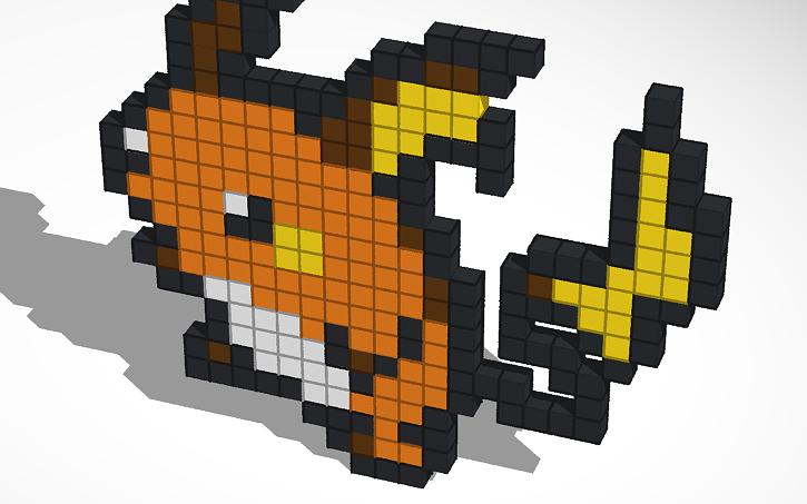 3d Design Raichu Pixel Art Tinkercad