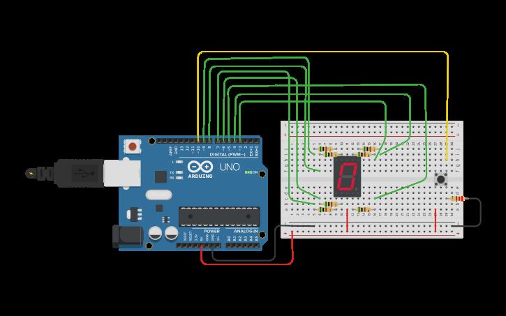 Circuit design counter using 7 segment display and