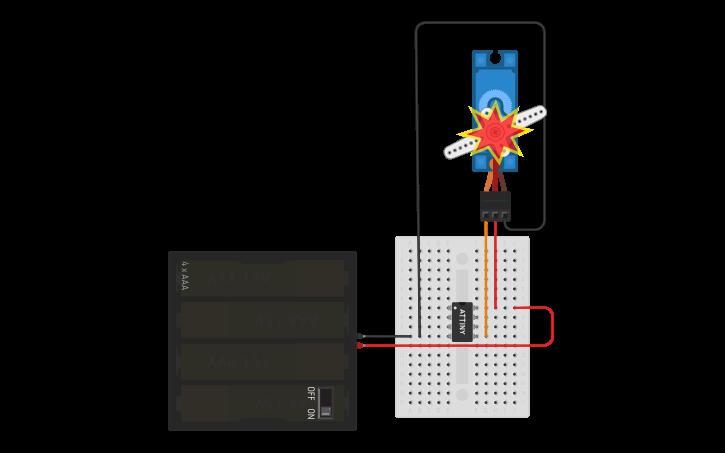 Circuit design ATTINY Servo Full Sweep | Tinkercad
