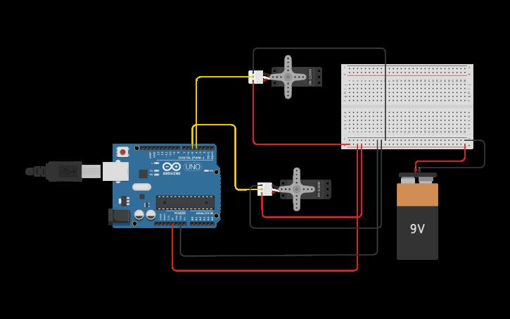Circuit design Triceratops with Arduino Nano   Tinkercad