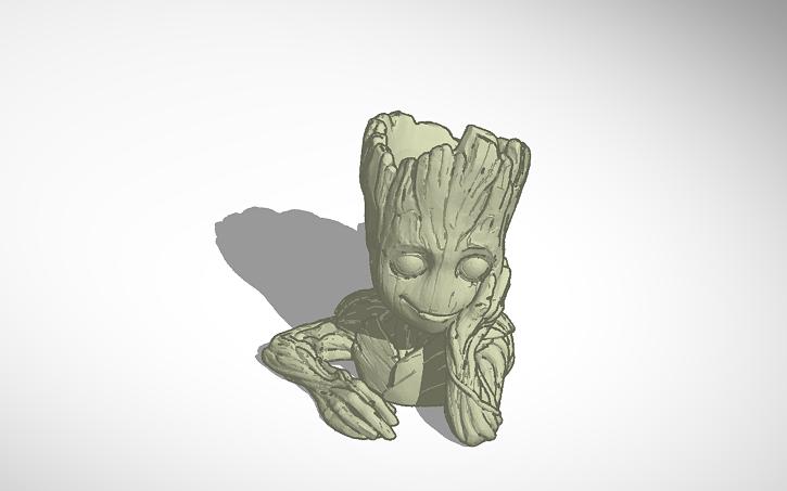 3d Design Baby Groot Flower Pot Tinkercad