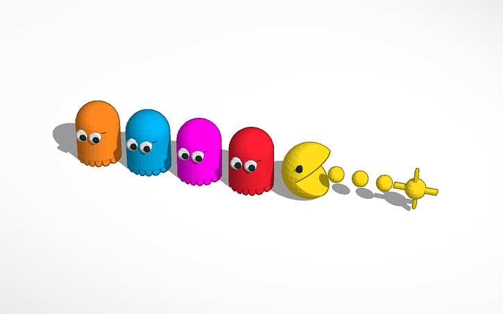 3D design PAC-MAN and Ghosts | Tinkercad