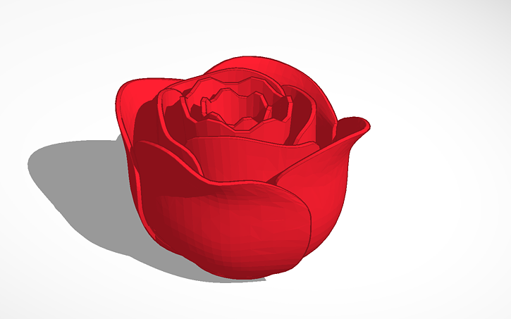 3d Design Rose Model With Keychain Ring Tinkercad