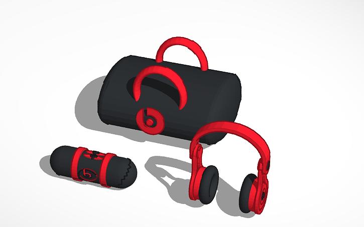 3D design Beats Solo 2 headphones black and Beats pill with
