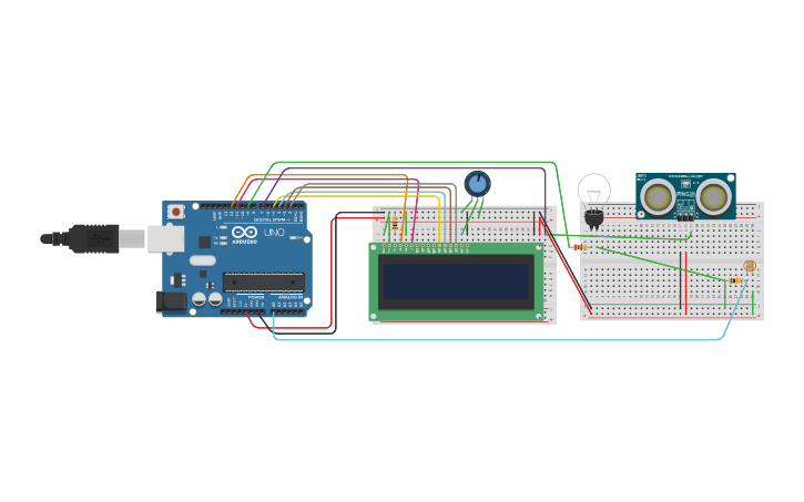 Circuit design arduino LCD control with Ping sensor & light sensor