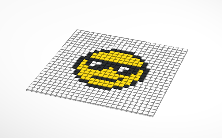 3d Design Pixel Art Smiley Face Tinkercad