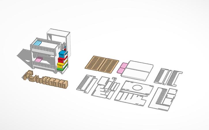3D design Bunk Bed with no Screws | Tinkercad