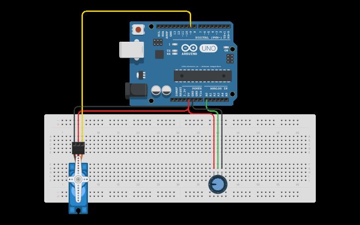 Circuit design Servo Motor | Tinkercad