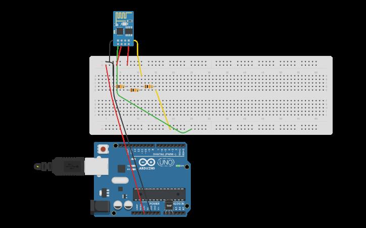 Circuit design ESP8266 ThingSpeak Test | Tinkercad