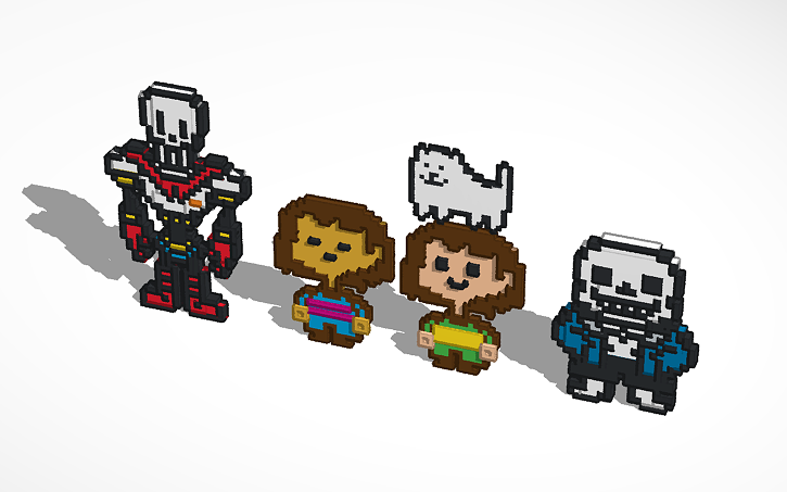 3D design Sans, Papyrus, Annoying Dog, Frisk, And Chara From