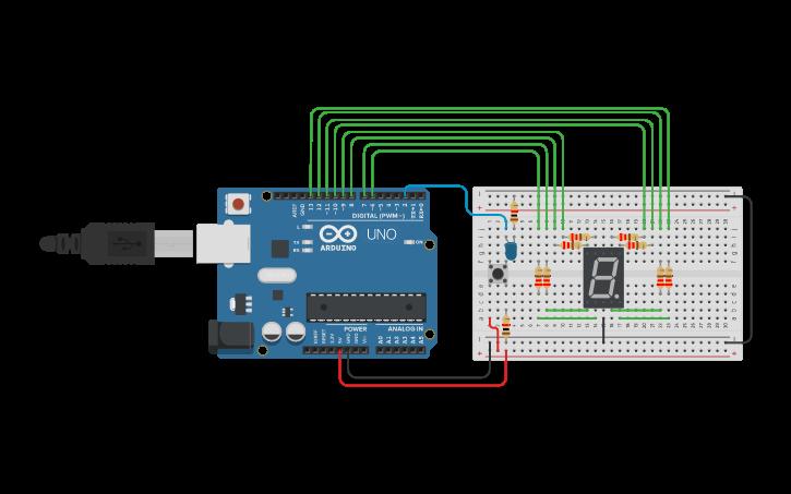 Circuit design 7 segment Push Button Press 1-0 | Tinkercad