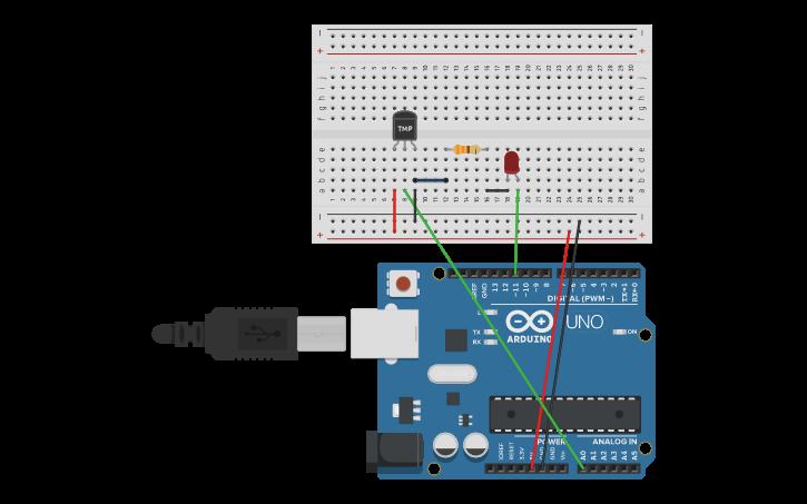 Sensor De Temperatura Tmp Con Arduino Tinkercad