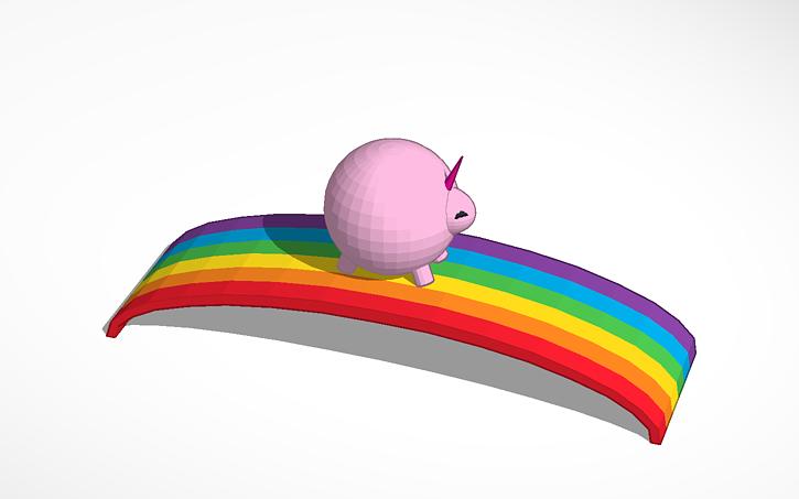 3D design pink fluffy unicorn dancing on a rainbow | Tinkercad