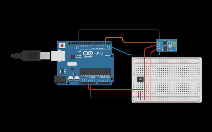 Circuit design ESP01 MQTT | Tinkercad
