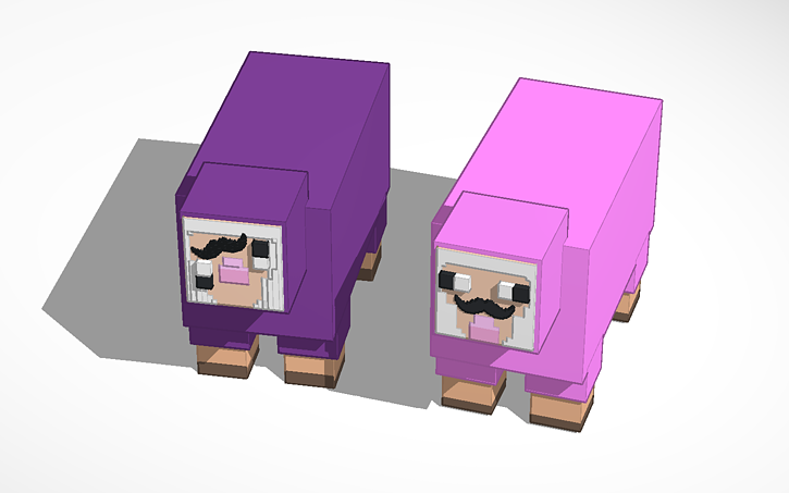 3d design pink sheep purple shep all credit goes to the creator