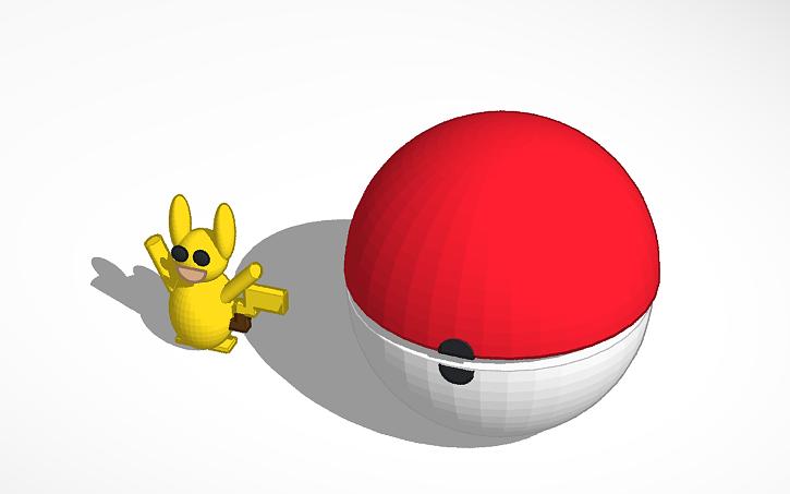 3D Design Open Up Pokeball And Pickachu