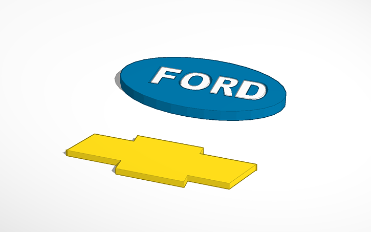 3D design Chevy Symbol and Ford Symbol | Tinkercad