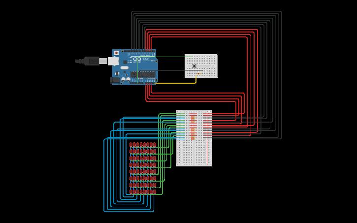 Circuit design Kit Kuman Arduino UNO R3- 8x8 Dot Matrix | Tinkercad