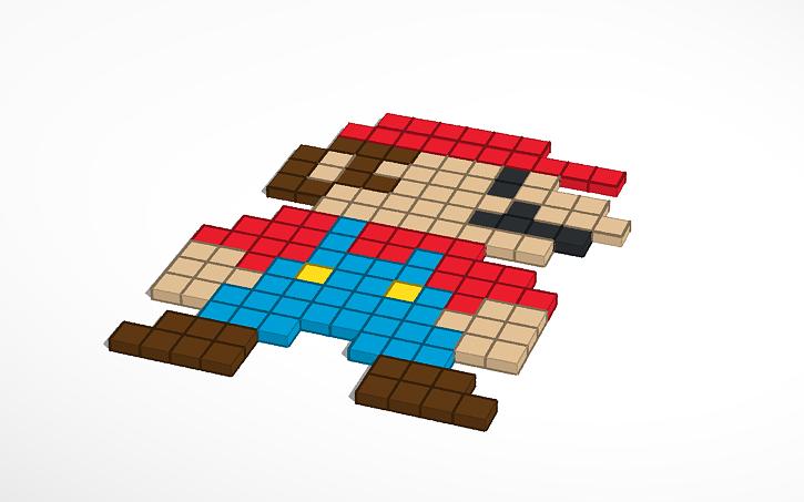 3d Design Mario Bros Pixel Art2 Tinkercad
