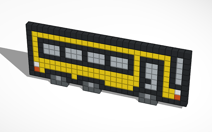 3d Design School Bus Pixel Art Tinkercad