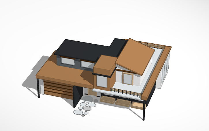 two story balcony 3D Design Two Story House With Balcony Tinkercad